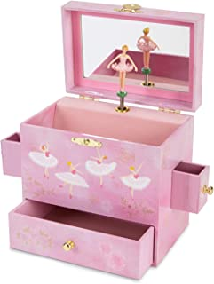 JewelKeeper Ballerina Musical Jewelry Box with 3 Drawers Pink Rose Design Swan Lake Tune