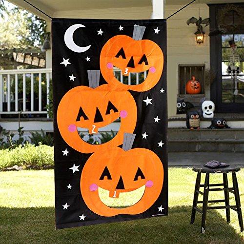 AerWo Pumpkin Bean Bag Toss Games + 3 Bean Bags, Halloween Games for Kids Party Halloween Decorations …