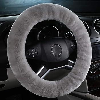 Zone Tech Non-slip Car Decoration Steering Wheel Plush Cover Auto Comfortable Thermal Gray Steering Wheel Cover Comfort Wheels WC0011