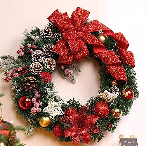 S&C Live クリスマスリース 40cm  オーナメント付 ビッグ レッド リボン キラキラリボン スター 星...