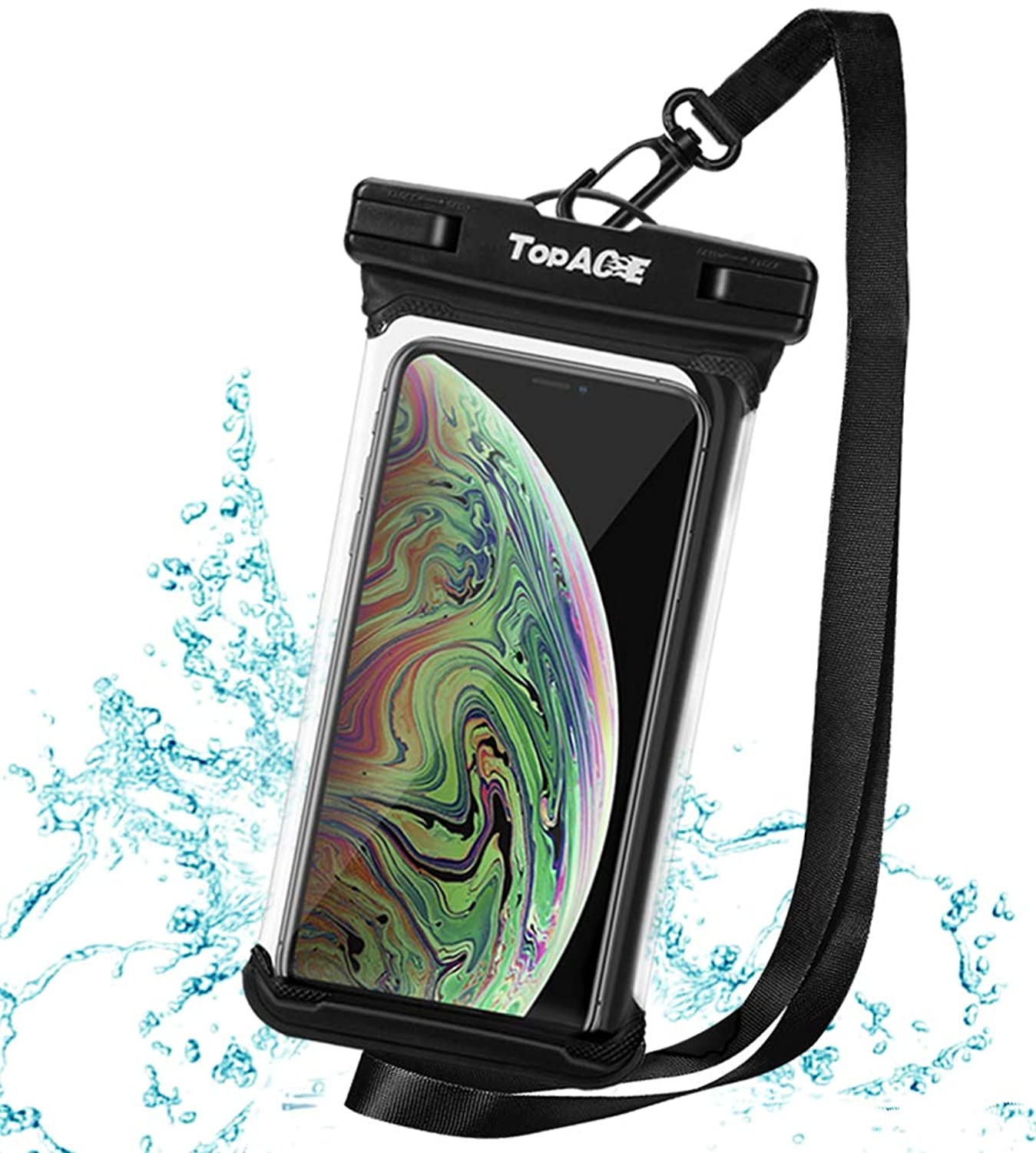 TOPACE 防水ケース スマホ用 防水携帯ケース 「顔認証 」 6.5インチ以下 iPhone XR/iPhone XS/SONY XPERIA 1 / Google Pixel 3 lite XL/Huawei P30 Pro Android等対応 IPX8防水規格 TPU素材採用 水中撮影 お風呂 海水浴 (ブラック)
