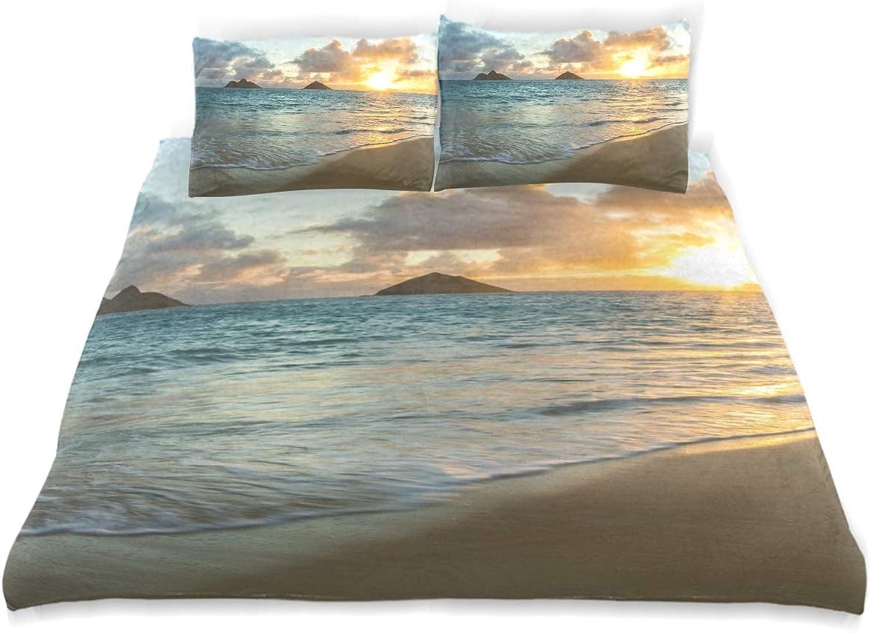 MJIAX Parure de lit 3 pièces avec Housse de Couette et 2 taies d'oreiller Motif Lever de Soleil sur océan, Tissu, Simple