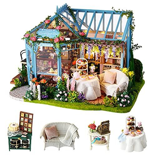 Cuteroom DIY Mini Dollhouse Wooden Furniture Kit, Rosengarten Teehaus - handgemachte Hütte kleines Haus mit Spieluhr - zum Zusammenbau von Spielzeug Geburtstagsgeschenken