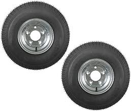 2-Pack Trailer Tires On Galvanized Rims 18.5-8.5-8 215/60-8 Load C 5 Lug