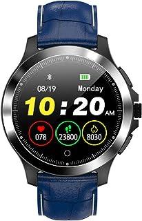 SAHWIN® Pulsera Fitness, Reloj Inteligente Impermeable IP67 con Monitor De Sueño Pulsómetro Podómetro, Caloría GPS para Deporte, Reloj Inteligente Mujer Niños,Blue Leather Strap