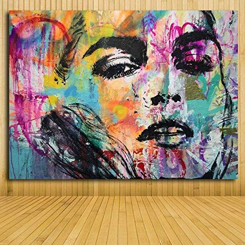 Geschikt voor het kleurrijke portret van de vrouw voor muurkunst van het extract van de huisdecoratie, de poster van het doek van de vrouw op het beeld van het schoonheidsmasker van het canvas