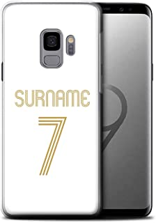 Personalized Custom Euro Soccer Club Jersey Kit Gel/TPU Case for Samsung Galaxy S9/G960 / White Gold Design/Initial/Name/Text DIY Cover