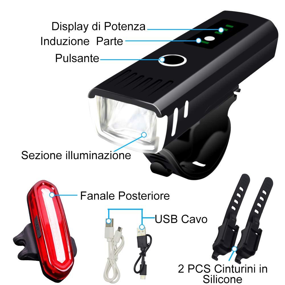 AMANKA Luces Bicicleta Recargable LED, Luz para Bicicleta por USB ...