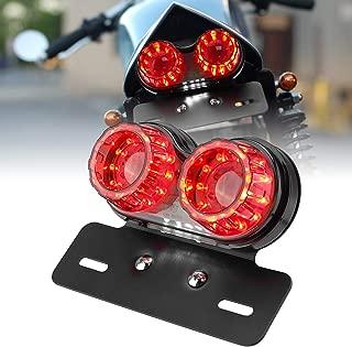 Motorcycle Tail Light, 12V LED Turn Signal Brake Light with License Plate Holder Universal for Harley Honda Yamaha Suzuki Kawasaki Cafe Racer, 40-LED 40W Smoke