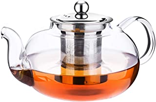 Glass Teapot with Infuser,Tea Strainer Pot with Heat Resistant,Tea Kettle Stainless Steel Teapot with Infusers for Loose Tea (1000ml/33 Oz)