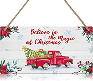 Christmas Construction Truck Wood Hanging Sign Plaque, Believe in The Magic of Christmas Quote Wooden Door Hanger, Rustic Winter Christmas Wall Art for Home Garden Farmhouse Yard Decor (11''x 6'')