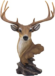 Decorative Buck Bust Statue or Deer Head Sculpture with 8-point Antlers for Rustic Lodge or Hunting Cabin Decor Wildlife Art Display Centerpiece As Gifts for Hunters & Bucks Fans