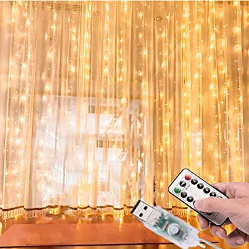 Cortina de Luces LED 3Mx3M 300LEDs, 8 Modos de lluminación, E T EASYTAO Lámparas Decorativas Impermeables para Interior y Exterior, Luz Cadena para Navidad, Fiestas, Casa, Jardín, Boda, Blanco Cálido