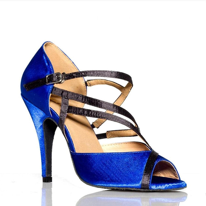 Women's Latin shoes Salsa shoes Ballroom shoes Sandal Heel Dance shoes Stilettos Heel Party & Evening Fancy, bluee (color   B, Size   40)