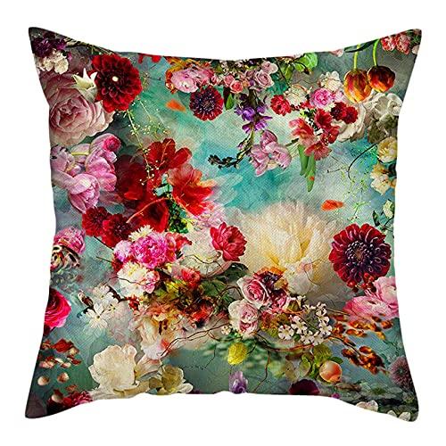 Fundas de Cojín Fundas de Almohada Coloridas de Flores Rosas Cojines Decorativos con Hojas de Flores y pájaros para Sala de Estar Cama sofá Almohada Funda de cojín