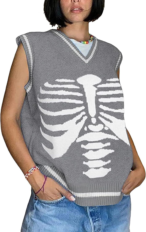 Women's Cropped Sweater Vest, Y2K E-Girls Knitted Sleeveless Streetwear Tank Tops Printed Pullover Knitwear