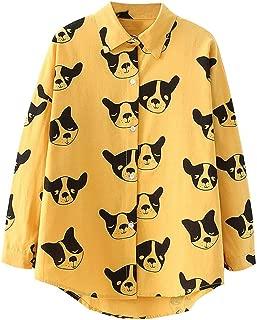 Women Autumn Long Sleeve T-Shirt Cartoon Dog Print Loose Button Shirt Casual Blouse Tops Hooded Outwear WEI MOLO