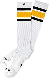 Spirit of 76, Black 'N Yellow Hi | Heritage Edition | Calcetines altos Retro con rayas | Blanco, Negro y Amarillo | hasta la rodilla | Elegantes calcetines unisex