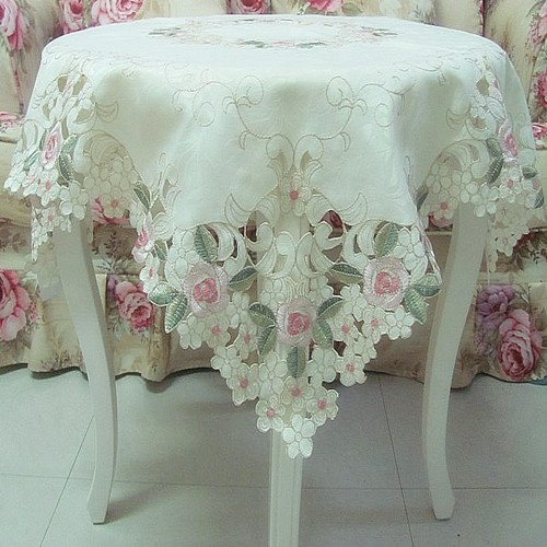 FADFAY Home Textile Elegant Shabby Vintage Floral Table Overlays For Weddings Pink Rose Embroidered Tablecloth Sweet Cherry Blossom Table Clothes