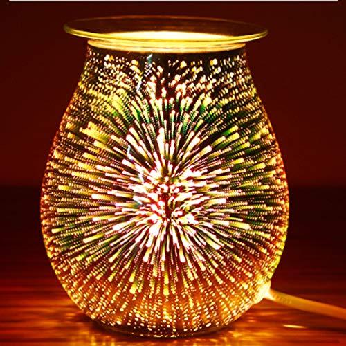 Uonlytech 3D Glas Feuerwerk Wachs Schmelzen wärmer Duftkerzenhalter Duftlampe für Home Office Schlafzimmer Wohnzimmer Geschenke & Dekor