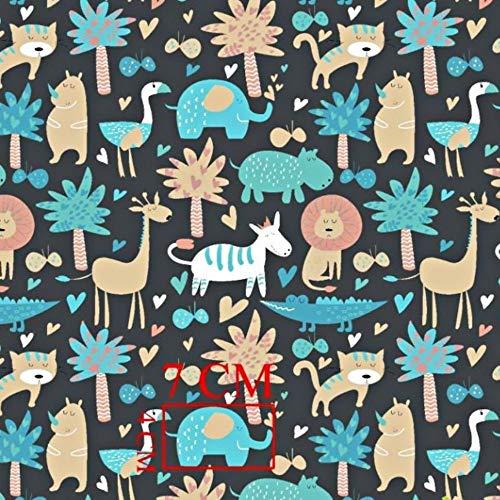 Elefante jirafa león gris oscuro multicolor 100% algodón tela infantil tejido por metros artesanía costura plástico animal diseño 100 x 160 cm 1 metro
