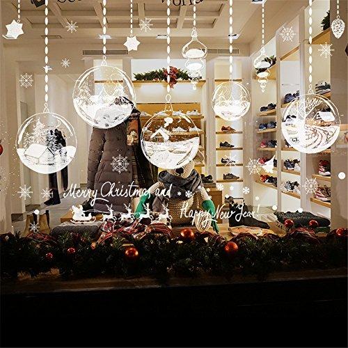 NINGSANJIN Autocollant de Noël Sticker pour Fenêtre Vitrine Vitre Autocollant Mural Flocon de Neige Étoile