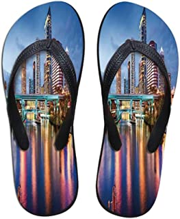 City Durable Flip Flops,Fantasy Dramatic Sky in New York at Nighttime Stormy Sunset Vibrant Water Reflections for Leisure Activities,US Size 5
