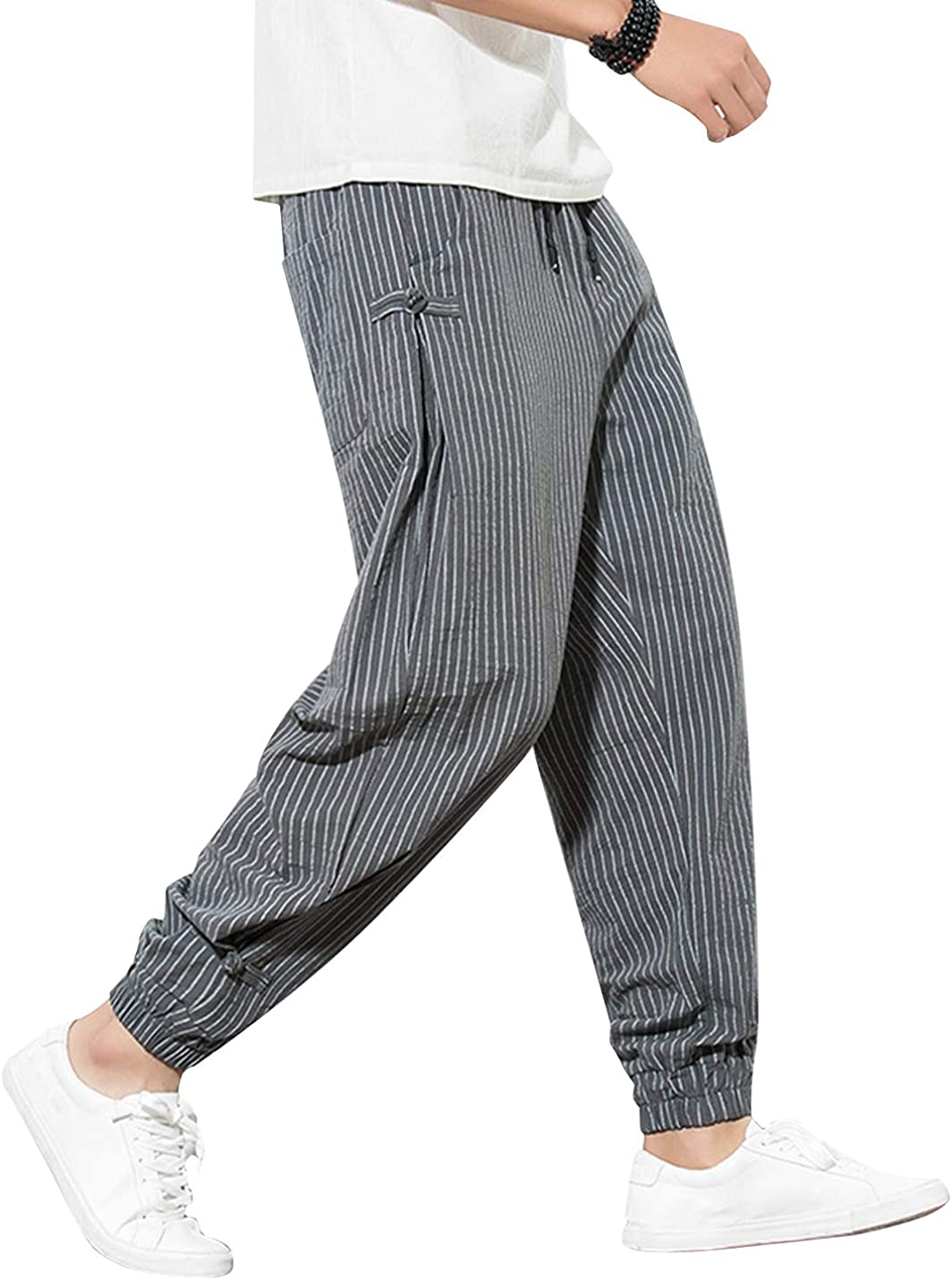 Uaneo Men's Casual Cotton Striped Relaxed Fit Drawstring Waist Jogger Pant(Grey-L)