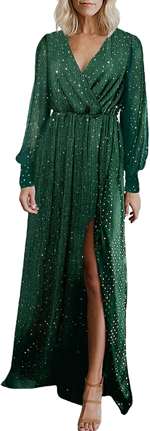Bdcoco Women's V Neck Formal Gown Evening Dresses Long Sleeve Bridesmaid Maxi Dress with Slit