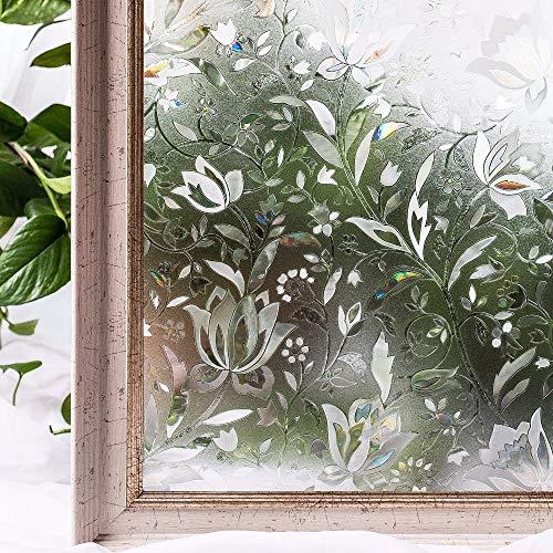 LMKJ Home PVC Fenster Tint Film kleberfrei 3D statische Blumenfenster Sichtschutzglas A127 60x200cm