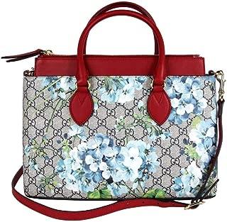 Women's Blue/Beige Bloom Supreme GG Canvas Tote Bag With Shoulder Strap 409534 8492