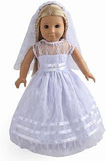 لباس عروسک دولی شیرین 2PC لباس عروس لباس عروس لباس عروسی متناسب با 18 اینچ عروسک دختر آمریکایی