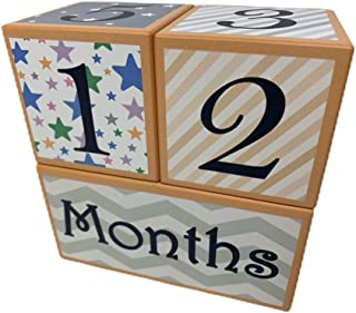 Wood Baby Milestone Age Photo Blocks Set -Track Weeks, Months and Years - Perfect Baby Shower Gift