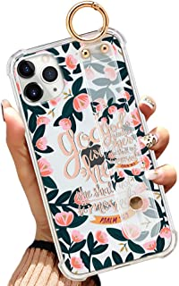 iPhone 11 Pro Max 6.5 Inch Clear Slim Phone Case Gasbag Full Protective Cover Bible Verse Quotes Green Flower Floral Shell...