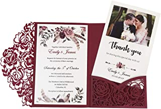 Doris Home 50pcs 4.7 x7 inch Burgundy Laser Cut Hollow Floral Wedding Invitations Cards with Envelopes for Wedding Bridal Shower Invites