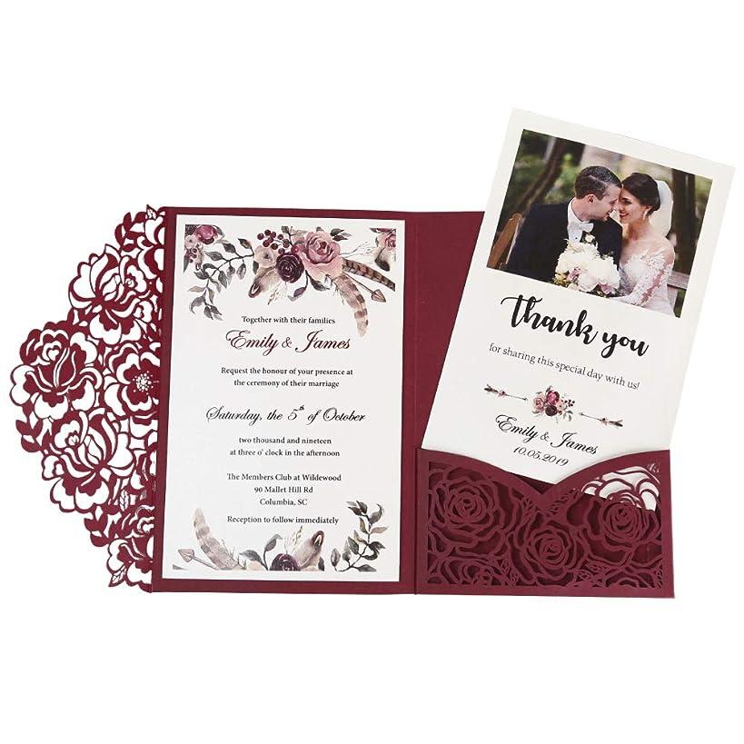 Doris Home 50pcs 4.7 x7.1 inch wedding invitations with envelopes for Bridal Shower Invitations, Dinner Invitations, CW0008 (Burgundy, 50pcs Blank)