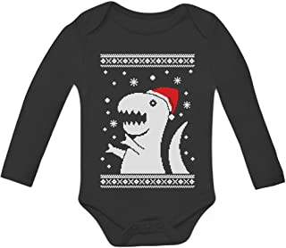 Big Trex Santa Ugly Christmas Sweater Baby Grow Vest Baby Long Sleeve Bodysuit