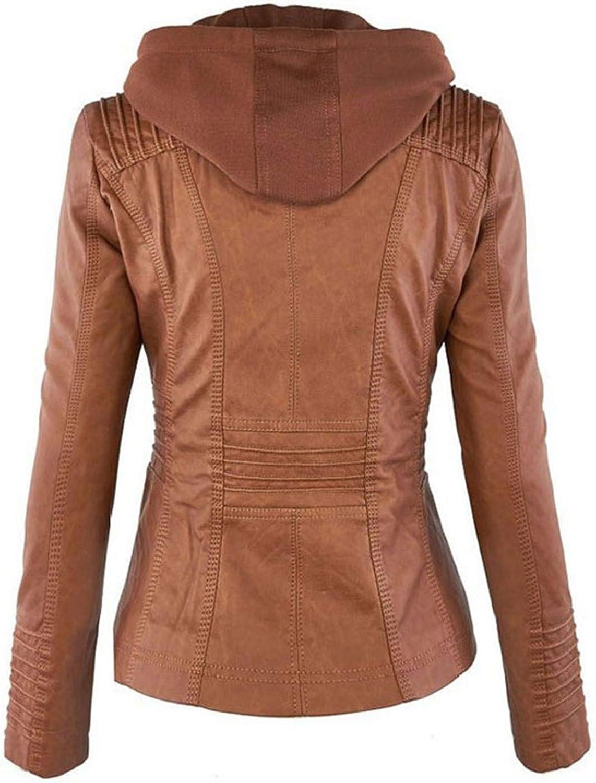 Elonglin Damen Mode Lederjacke Kunstleder Kurze Jacke Einfarbig Gekippter Reißverschluss Freizeit Slim Cool Jacken Herbst Mantel Braun