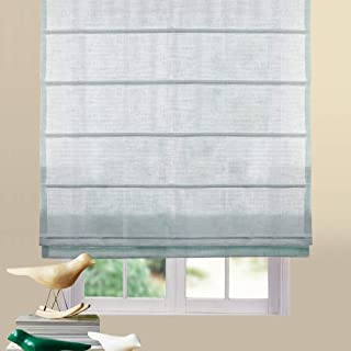 Artdix Roman Shades Blinds Window Shades - Azure Blue 20 W x 72L Inches (1 Piece) Linen Sheer Solid Fabric Custom Made Roman Shades for Windows, Doors, Home, Kitchen, Living Room