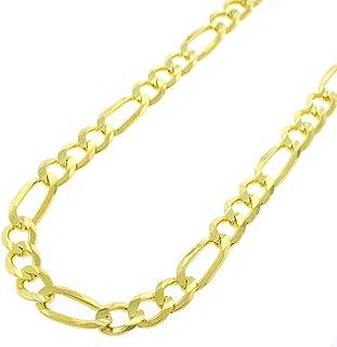 سلسلة من الفضة الإسترلينية المطلية بالذهب عيار 18 قيراط من فيجارو لينك 925 سلسلة 3 مم - 8.5 مم، 16 بوصة - 30 بوصة، قلادة س...