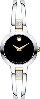 Women's Amorosa Watch, Concave Dot Museum Dial & Diamond Accents, Silver/Gold/Black (607185)