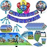 Paw Dog Patrol Party Supplies Set de decoración Happy Birthday Party Vajilla Packs Incluye Incluye Flatwares, Copas, Manteles, Servilletas, Globos, Estandartes, Horquillas para 10 Niños Niñas Niños