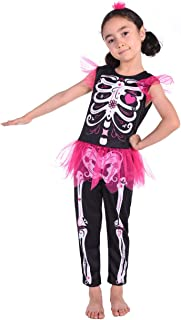 Familus Girls Skeleton Costume with Pink Tutu for Halloween 3T-8T