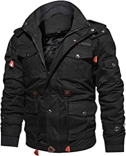 Men's Winter Casual Thicken Multi-Pocket Outwear Jacket Cargo Coat with Removable Hooded
