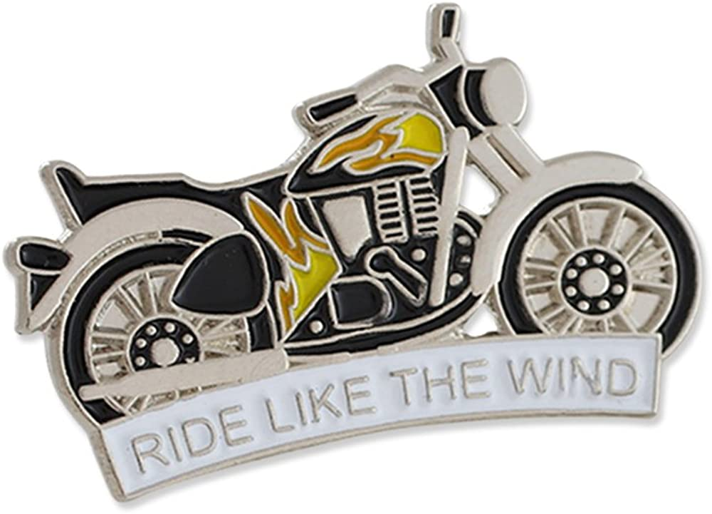 Ride Like The Wind Motorcycle with Flames Enamel Lapel Pin– 1 Pin