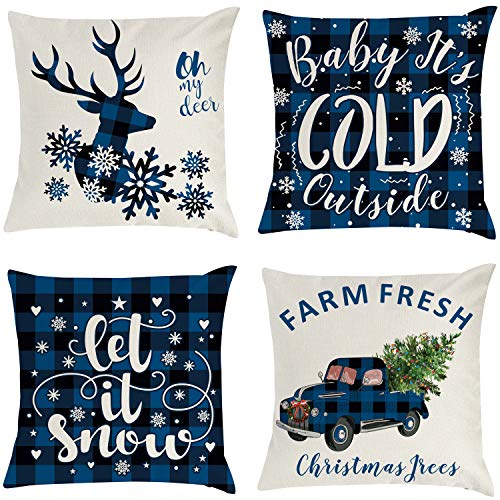THAWAY Christmas Decorative Pillow Covers Farmhouse Christmas Decorations Holiday Home Decor Linen Cushion Cases Buffalo Plaid Throw Pillow Cases for Sofa Couch 18 x18 Inch Set of 4 (Blue)
