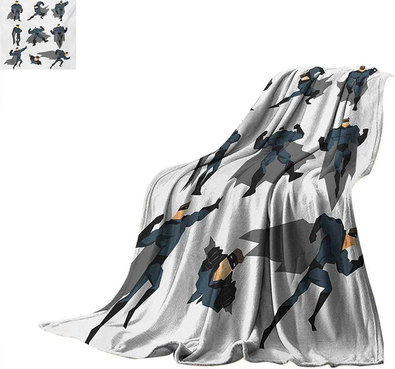 SINOVAL Superhero Weave Pattern Blanket Fun Cartoon Man in Costume Posing Hero Flying Running with Superpowers Art Print Summer Quilt Comforter 60 x36  White Grey