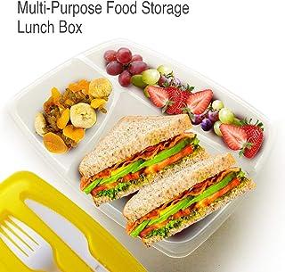 The Perfect - Fiambrera (3 compartimentos, cuchillo y tenedor), color amarillo mostaza