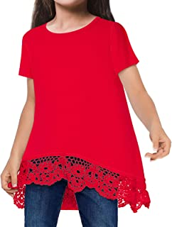 Little and Big Girls Lace Shirts Casual 3D Printed Short...