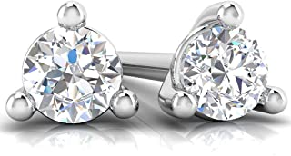 1/10, 1/4, 1/2 Cts 10K Lab Grown Diamond Martini Stud Earrings for Women (D-F Color,VS-SI Clarity) set in White Gold. Solitaire Diamond Stud Earrings for Women.